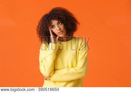 Uninterested Bored African-american Woman In Yellow Sweater, Facepalm, Looking Away With Unintereste