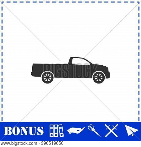 Pickup Truck Icon Flat. Simple Vector Symbol And Bonus Icon