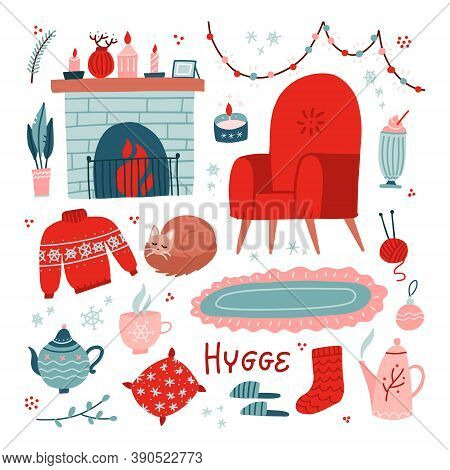Vibrant Collection Of Hygge Christmas Icons. Big Set Of Cozy And Warm Elements - Armchair, Fireplace