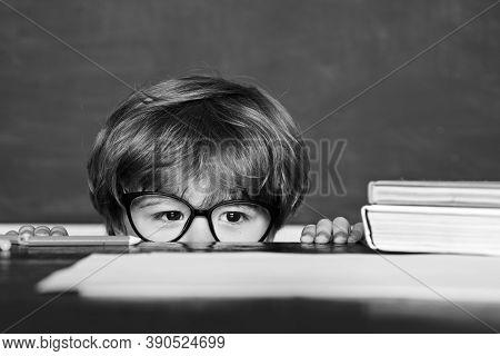 Great Study Achievement. Hard Exam. Schoolchild. Preschooler. Learning Concept. Blackboard Backgroun