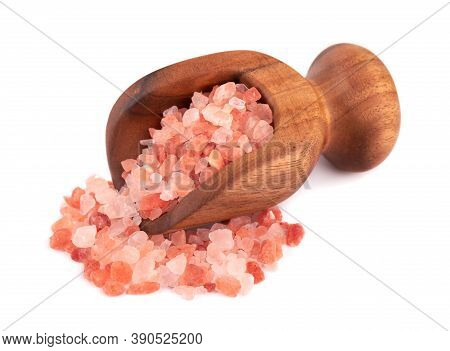 Himalayan Pink Salt In Wooden Scoop, Isolated On White Background. Himalayan Pink Salt In Crystals.
