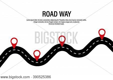 Winding Road. Road Way Location Infographic With Pointers. Vector Road Concept Design. Stock Vector.