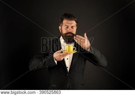 Aroma And Flavor. Bearded Man Sniff Aroma Of Coffee. Enjoying Coffee Aroma. Aromatic Hot Beverage. O
