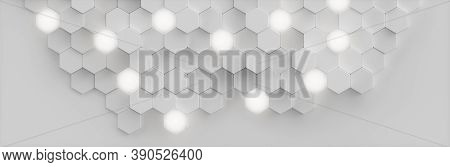 Abstract White Background Geometric Hexagonal Abstract Background. Surface Polygon Pattern With Glow