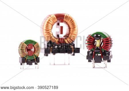 Various Common Mode Choke Cmc For Reducing Electromagnetic Interferences In Ac Line Isolated On The