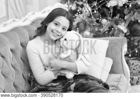 Winter Wonderland. Best Time Of The Year. Adorable Girl Play With Toy In Christmas Eve. Cozy Concept