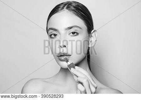 Woman Put Makeup On Her Face. Daily Makeup Concept. Makeup And Cosmetics. Girl Healthy Shiny Skin Pu