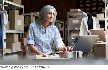 Mature Female Fashion Seller Using Computer Checking Ecommerce Clothing Store Orders. Older Middle A