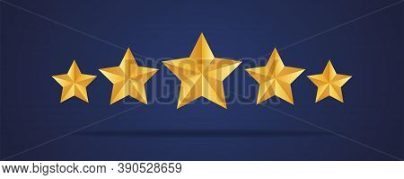 Five Golden Realistic Stars. Vector Golden 3d Isolated Five Stars On Dark Blue Background. Customer