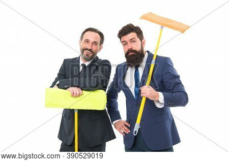 Clean Slate. Cleaning Company. Clean Business. Partnership And Teamwork. Mature Bearded Men In Forma