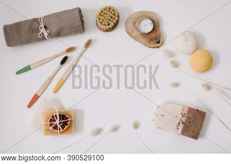 Top View Of Natural Kitchen And Bath Products. Set Of Eco-friendly Accessories: Toothbrush, Soap Bar