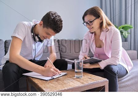 Boy Teenager Gives Interview To Woman Psychologist In Office, College Student At Consultation. Adole