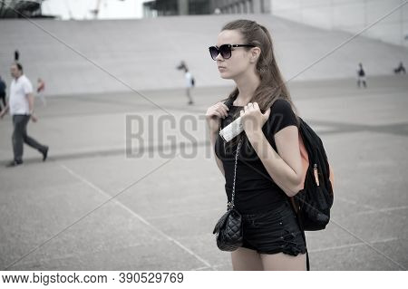 Life Is Adventure. Pretty Woman See Sights Of City. Sexy Traveler On Urban Scene. Being Adventurer.