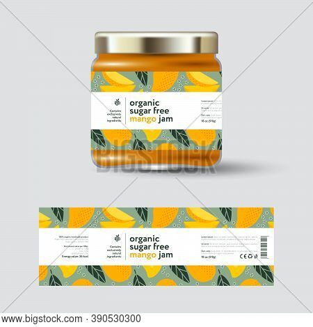 Mango Jam Label And Packaging. Jar With Cap With Label. White Strip With Text And On Seamless Patter