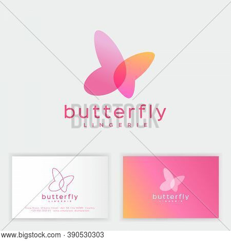 Butterfly Logo Consist Of Transparent Elements. Emblem Can Use For Jewelry, Beauty Or Spa Salon, Lin