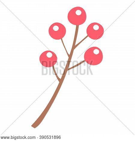 Christmas Red Berry Branch Icon. Flat Illustration Of Christmas Red Berry Branch Vector Icon For Web