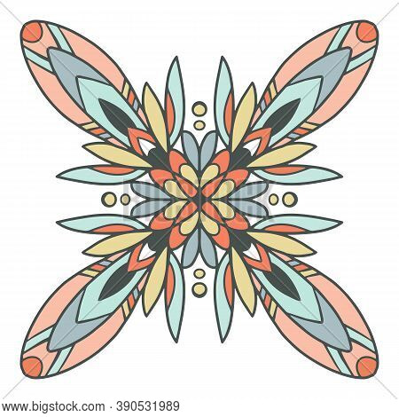 Mandala Aztec Icon. Hand Drawn And Outline Illustration Of Mandala Aztec Vector Icon For Web Design