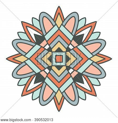 Native Mandala Aztec Icon. Hand Drawn And Outline Illustration Of Native Mandala Aztec Vector Icon F