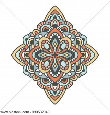 American Mandala Aztec Icon. Hand Drawn And Outline Illustration Of American Mandala Aztec Vector Ic