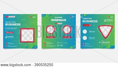 Collection Of Social Media Post Templates. Geometric Background In Blue And Green Color And Frame Is