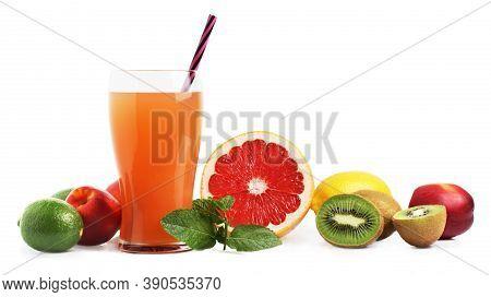 Juice In A Glass And Fruit. Grapefruit, Kiwi, Nectarine, Lemon, Mint. Isolate On A White Background.