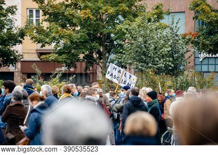 Strasbourg, France - Oct19, 2020: Placard Halt Fascism Place Kleber To Pay Tribute To History Teache