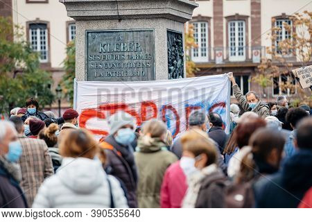 Strasbourg, France - Oct19, 2020: Large Crowd In Place Kleber To Pay Tribute To History Teacher Samu