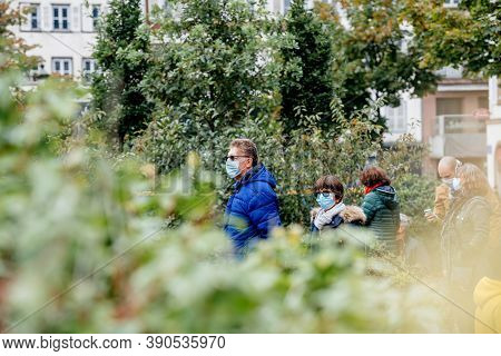 Strasbourg, France - Oct19, 2020: View Thrugh Green Tree Of Place Kleber To Pay Tribute To History T