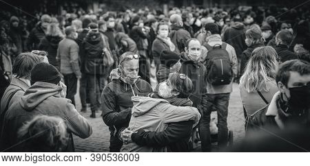 Strasbourg, France - Oct19, 2020: Woman Crying In Place Kleber To Pay Tribute To History Teacher Sam