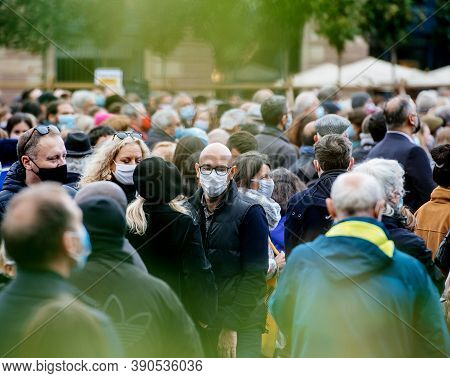 Strasbourg, France - Oct19, 2020: Men And Women In Place Kleber To Pay Tribute To History Teacher Sa