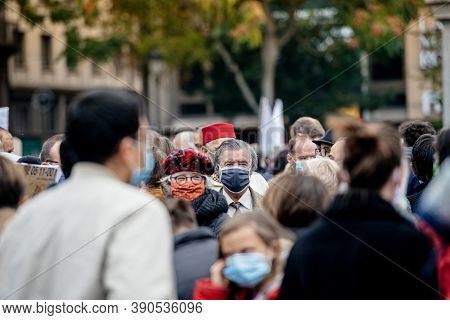 Strasbourg, France - Oct19, 2020: Multiethnic Group Of People Gathered At The Place Kleber To Pay Tr
