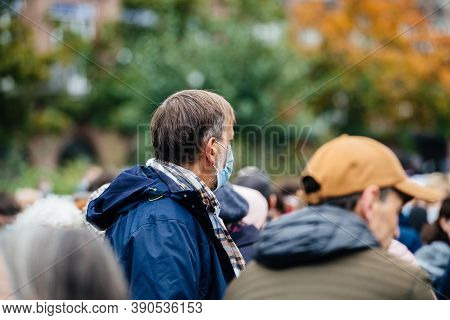 Strasbourg, France - Oct19, 2020: Side View Of Man With Mask In Place Kleber To Pay Tribute To Histo