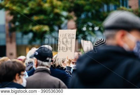 Strasbourg, France - Oct19, 2020: Placard In French In Place Kleber To Pay Tribute To History Teache