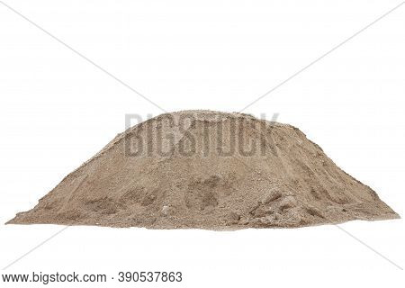 Pile Of Lateritic Soil For Construction Site Isolated On White Background Included Clipping Path.