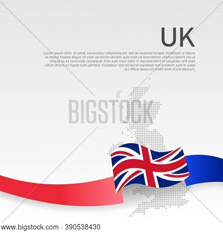 Great Britain Wavy Flag, Mosaic Map On White Background. Wavy Ribbon Color Flag Of Great Britain. Na