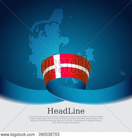 Denmark Flag Background. Danish National Poster. Denmark Flag, Mosaic Map On A Blue White Background
