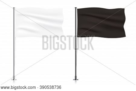 Set Of White And Black Waving Flag Templates. Blank Horizontal Flags Hanging On A Metallic Pillar, I