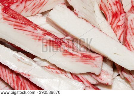 Crab Stick.background Of Crab Meat.crab Sticks Made From White Fish Meat.