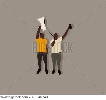 Two Black Men Shouting On A Megaphone In Protest On Street. Justice For Black People. Against Racial