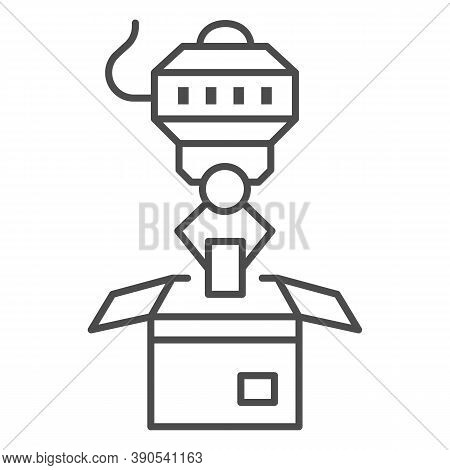 Robot Loader Thin Line Icon, Robotization Concept, Robotic Packaging Sign On White Background, Indus