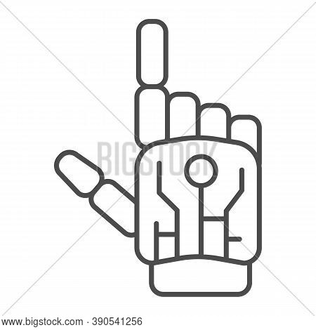 Robot Mechanical Arm Thin Line Icon, Robotization Concept, Robotic Hand Sign On White Background, Ro