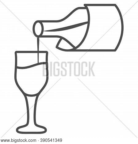 Wine Pouring From Bottle Into Glass Thin Line Icon, Wine Festival Concept, Bottle And Glass Sign On