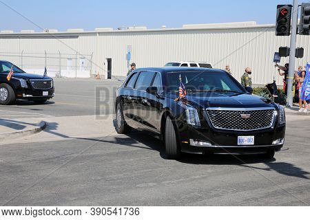 Irvine, California / USA - October 18.2020: President Trump leaves John Wayne Airport in his Presidential Limo while on his way to Newport Beach for a Fundraiser. Editorial Use.