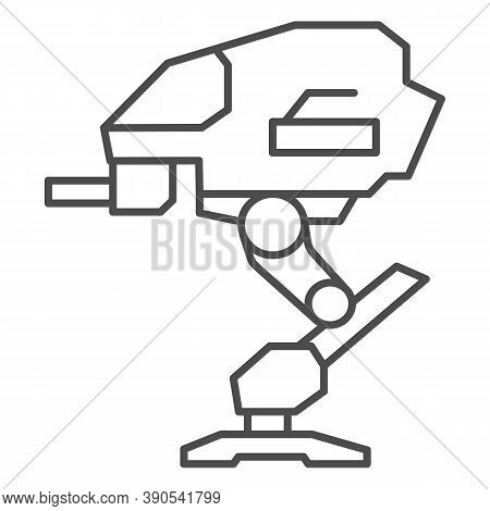 Robot Warrior Thin Line Icon, Robotization Concept, Mechanical Robotic Weapon Sign On White Backgrou