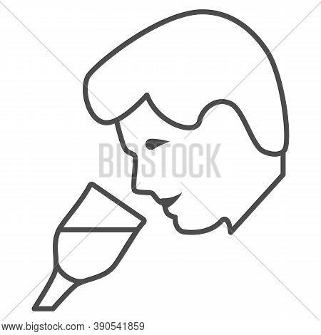 Person Taste Wine Thin Line Icon, Wine Festival Concept, Man Smelling Liquid In Glass Sign On White