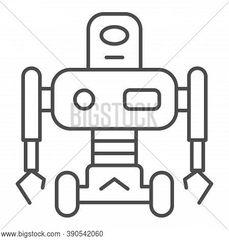 Robot On Wheels Thin Line Icon, Robotization Concept, Robotic Humanoid Sign On White Background, Ele