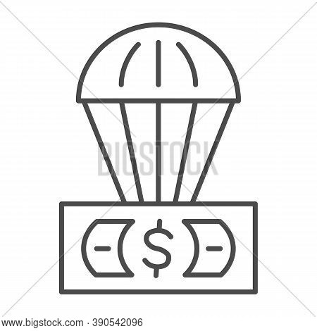 Dollar And Air Balloon Thin Line Icon, Finance Concept, Unsecured Currency In Air Sign On White Back