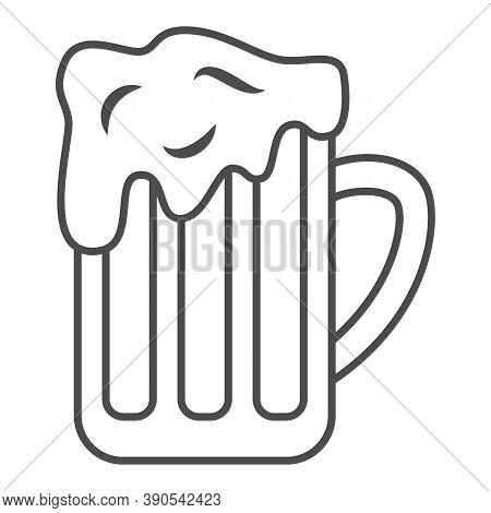 Mug Of Beer Thin Line Icon, Oktoberfest Concept, Full Alcohol Drink Glass Sign On White Background,