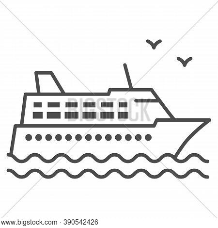 Cruise Ship Thin Line Icon, Sea Cruise Concept, Sail Boat On Waves Sign On White Background, Sea Cru