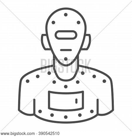Steel Robot Thin Line Icon, Robotization Concept, Cyborg Robot Sign On White Background, Robotic Man